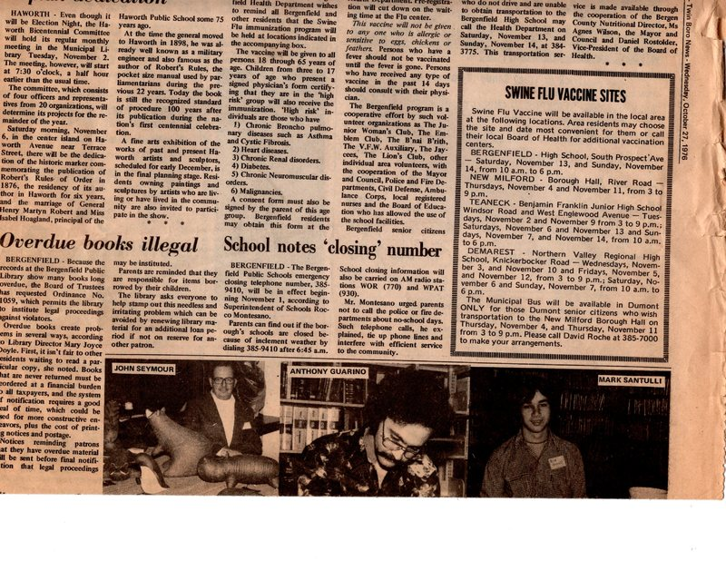 """Cultural Calvacade,"" (newspaper clipping) Twin Boro News, Oct. 27, 1976 P1 top.jpg"