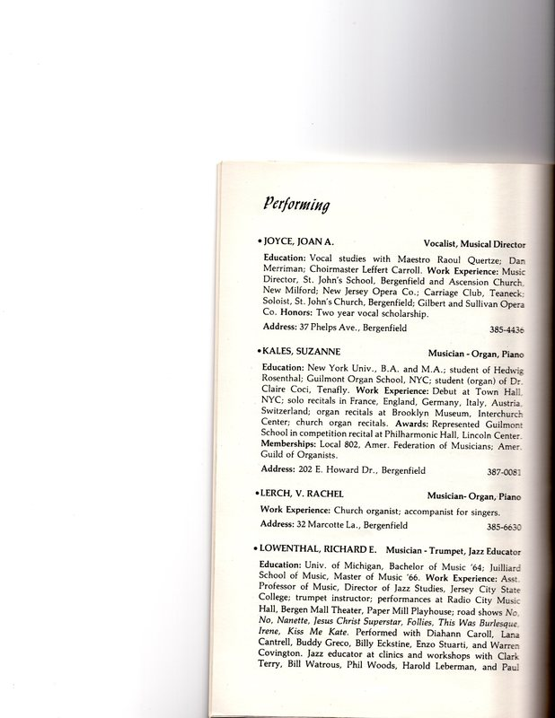 """""""Artists in Residence"""" booklet listing of performing, visual, crafts and literary artists in Bergenfield, 1977 P7.jpg"""