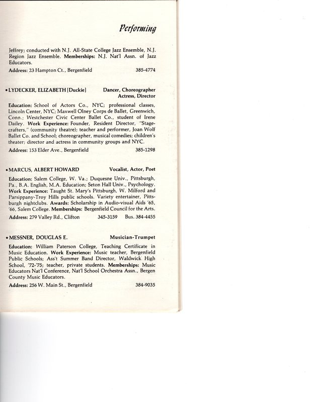 """""""Artists in Residence"""" booklet listing of performing, visual, crafts and literary artists in Bergenfield, 1977 P8.jpg"""