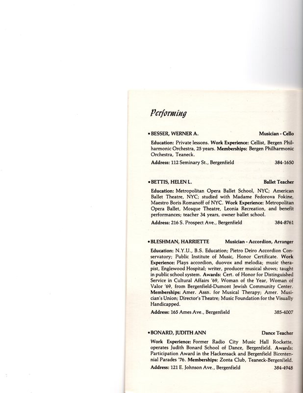 """""""Artists in Residence"""" booklet listing of performing, visual, crafts and literary artists in Bergenfield, 1977 P3.jpg"""