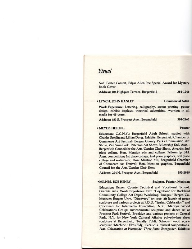 """""""Artists in Residence"""" booklet listing of performing, visual, crafts and literary artists in Bergenfield, 1977 P19.jpg"""