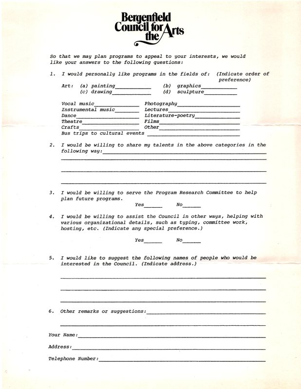 Letter from M. Denise Kopp, president, Bergenfield Council for the Arts questionnaire.jpg