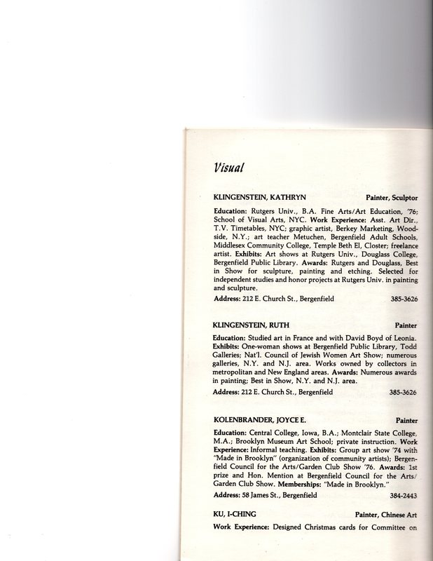 """""""Artists in Residence"""" booklet listing of performing, visual, crafts and literary artists in Bergenfield, 1977 P17.jpg"""
