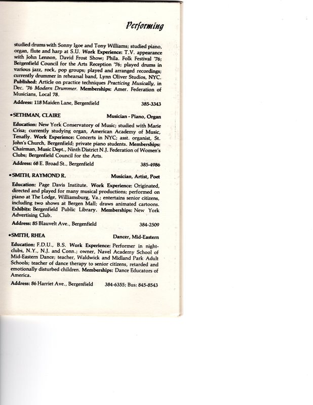 """""""Artists in Residence"""" booklet listing of performing, visual, crafts and literary artists in Bergenfield, 1977 P10.jpg"""
