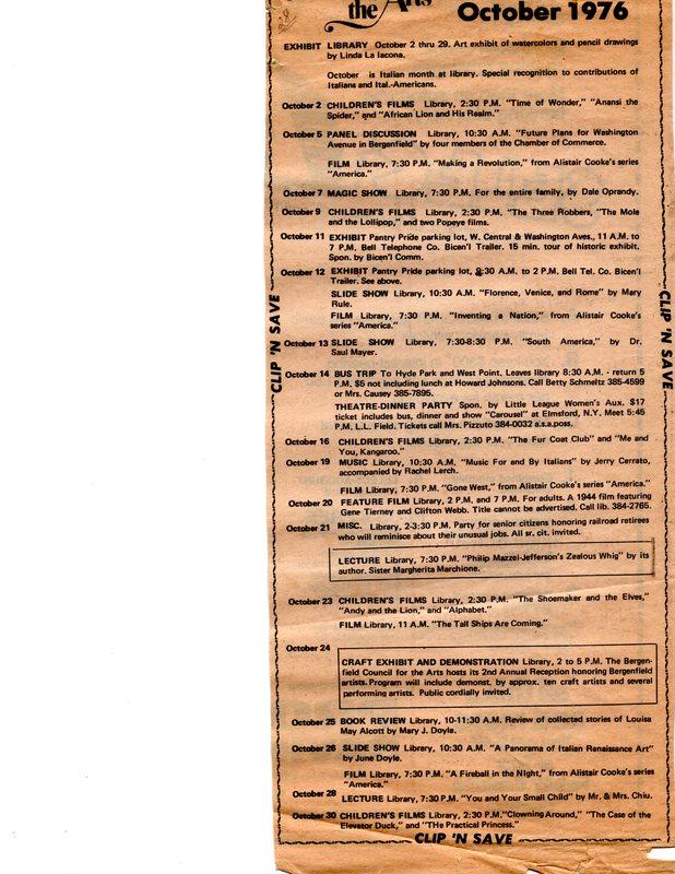 Cultural Calendar, October 1976 (newspaper clipping) undated.jpg