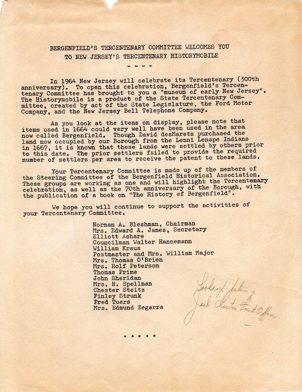 Bergenfield Tercentenary Committee Historymobile Letter.jpg