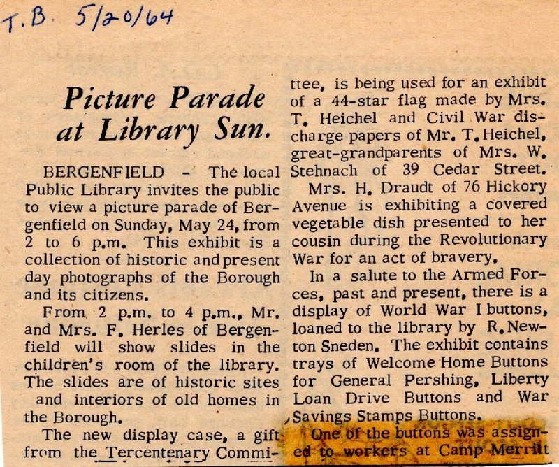 Newspaper Clipping Twin Boro News May 20 1964 Picture Parade at Library Sunday.jpg