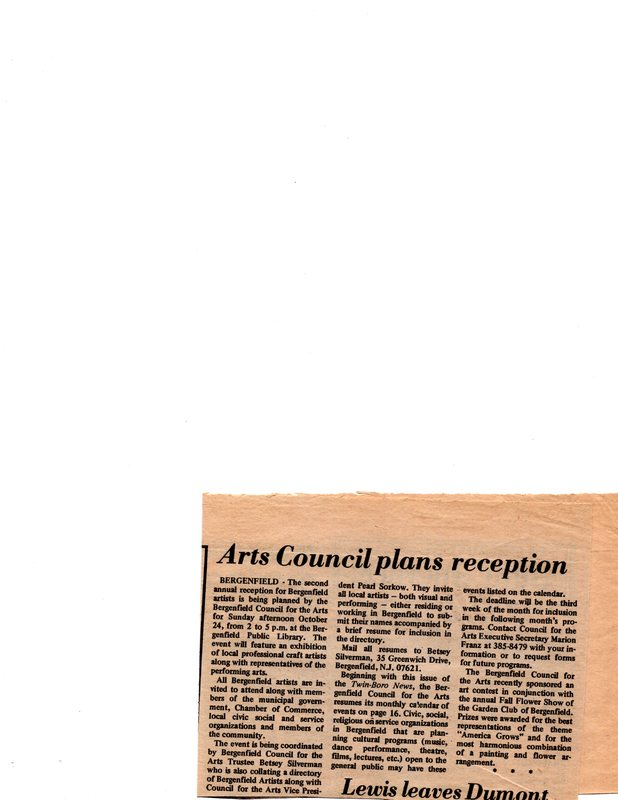 """""""Arts Council Plans Reception,"""" (newspaper clipping) Twin Boro News, Sept. 29, 1976.jpg"""