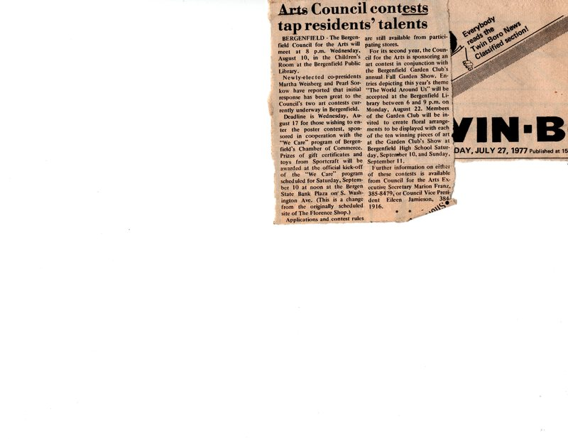 """""""Arts Council Contests Tap Residents' Talents,"""" (newspaper clipping) Twin Boro News, July 27, 1977.jpg"""
