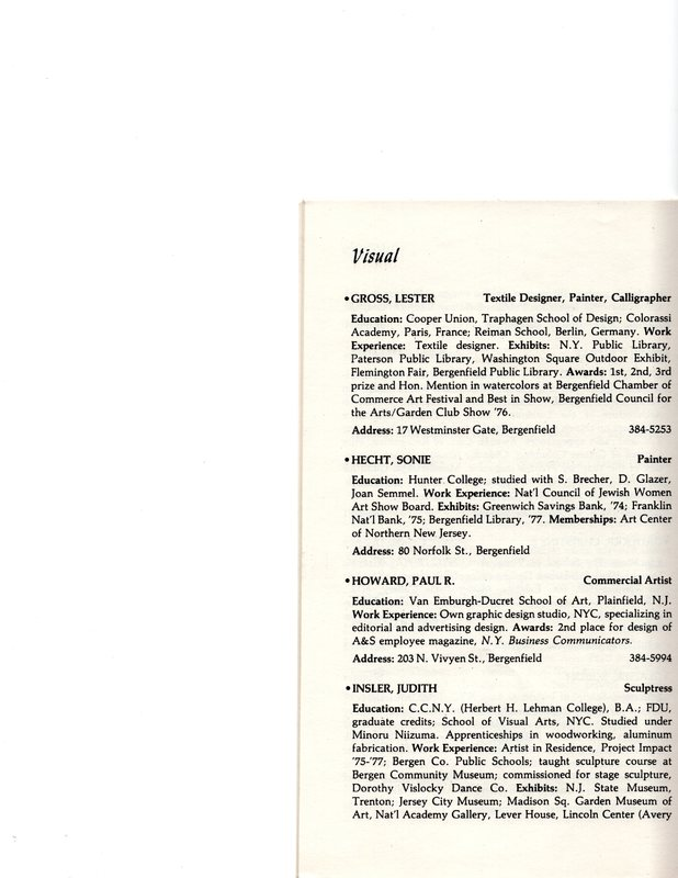 """""""Artists in Residence"""" booklet listing of performing, visual, crafts and literary artists in Bergenfield,1977 P15.jpg"""