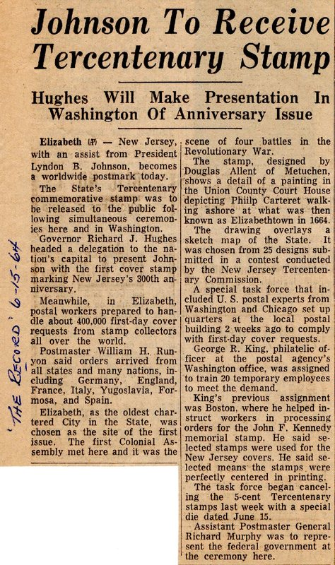 Newspaper Clipping The Record June 15 1964 Johnson to Receive Tercentenary Stamp.jpg