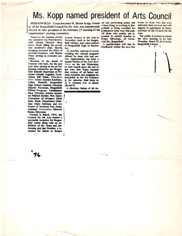 """""""Ms Kopp Named President of Arts Council,"""" (newspaper clipping) 1976.jpg"""