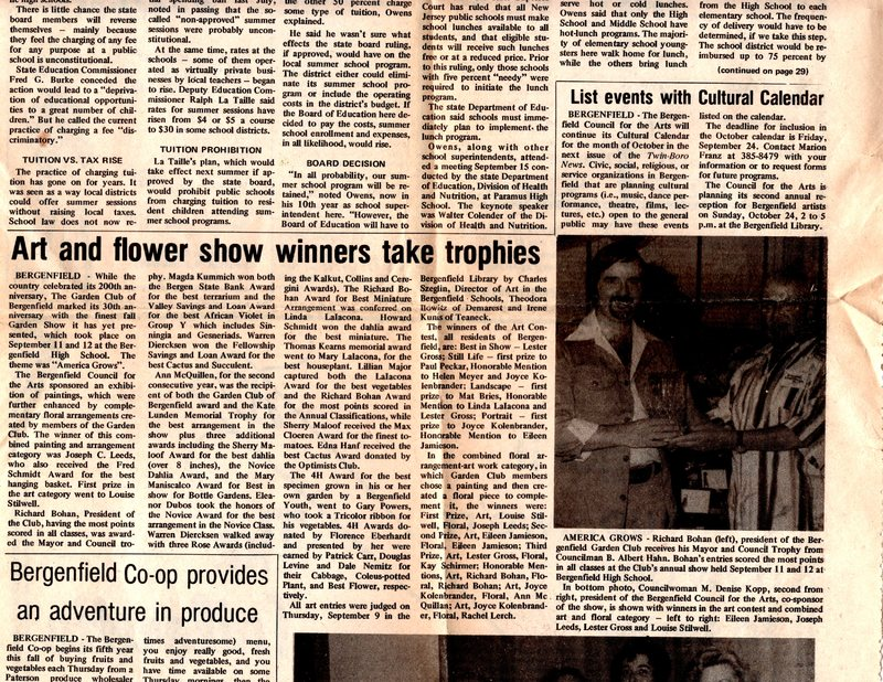 """""""Art and Flower Show Winners Take Trophies,"""" (newspaper clipping) Twin Boro News,.jpg"""