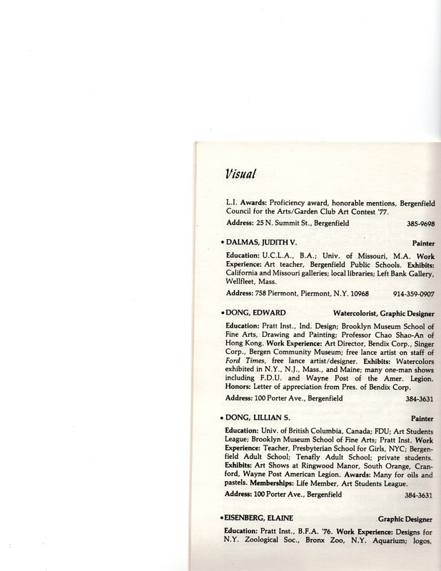"""""""Artists in Residence"""" booklet listing of performing, visual, crafts and literary artists in Bergenfield, 1977 P13.jpg"""