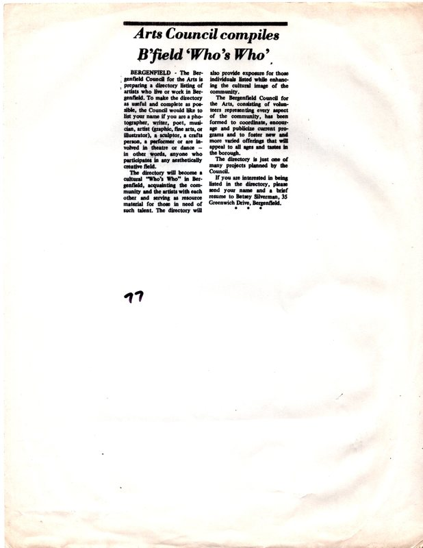 """""""Arts Council Compiles B'field 'Who's Who,'"""" (newspaper clipping) undated.jpg"""
