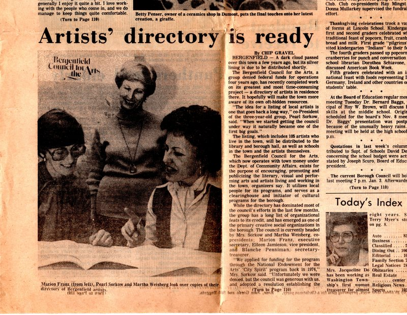 """""""Artists' Directory is Ready,"""" (newspaper clipping) The Sunday Post, Dec. 11, 1977 P1.jpg"""