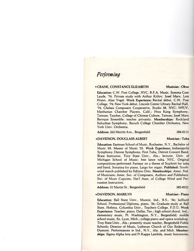 """""""Artists in Residence"""" booklet listing of performing, visual, crafts and literary artists in Bergenfield, 1977 P5.jpg"""