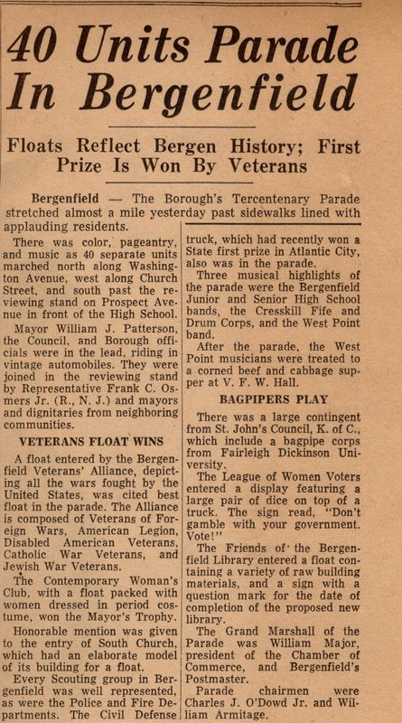 Newspaper Clipping The Record September 28 1964 40 Units Parade in Bergenfield 1.jpg