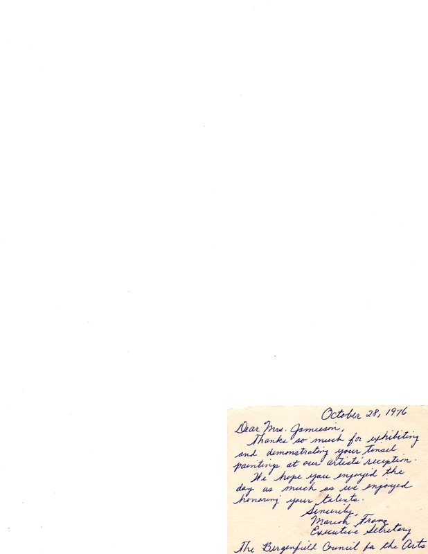 Thank you note from Marion Franz, executive secretary Bergenfield Council for the Arts,.jpg
