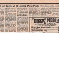 Annual Art Festival at Cooper Pond Park newspaper clipping Twin Boro News June 9 1982.jpg