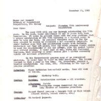 Memo -Planning 75th Anniversary Celebration Dec 29 1965