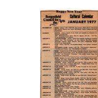 Cultural Calendar, January 1977 (newspaper clipping) undated.jpg