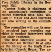 Newspaper Clipping The Record October 21 1960 Historical Group Plans Interviews.jpg