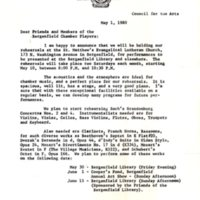 Letter from music director Norman H. Gordon to Friends and Members of the Bergenfield Chamber Players, May 1, 1980