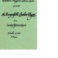 Program for Concert at St. Matthew's Evangelical Luther Church November 16, 1980