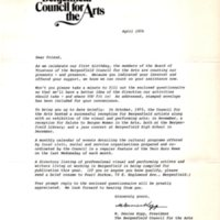 Letter from M. Denise Kopp, president, Bergenfield Council for the Arts recapping one year anniversary and questionnaire