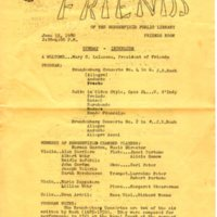 Program for the Bergenfield Chamber Players Concert at the Bergenfield Public Library on June 15, 1980.