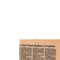 """""""Arts Council Plans Reception,"""" (newspaper clipping) Twin Boro News, September 29, 1976"""