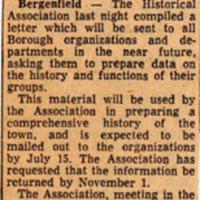 Newspaper Clipping Bergen Evening Record June 28 1960 Association Plans Boroughs History.jpg