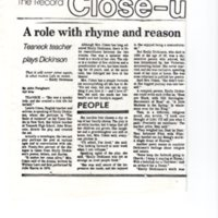 A Role With Rhyme and Reason Teaneck Teacher Plays Dickinson newspaper clipping The Record Nov 22 1983 P1 top.jpg