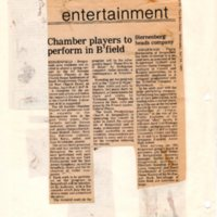 Chamber Players to Perform in Bfield newspaper clipping Twin Boro News April 24 1985.jpg