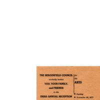 Bergenfield Council for the Arts Invitation, November 20, 1977