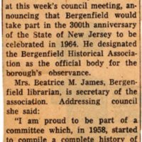 Newspaper Clipping The Record August 18 1961 Historical Group Will Head 300th Observance Here.jpg