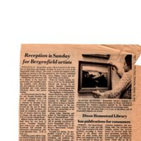 Reception is Sunday for Bergenfield Artists newspaper clipping Twin Boro News October 15 1975.jpg