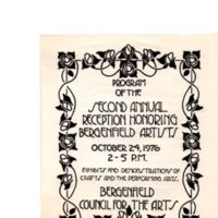 Second Annual Reception Honoring Bergenfield Artists, Oct. 24, 1976