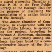 Newspaper Clipping Bergen Evening Record November 28 1959 Historical Data Of Bergenfield To Be Compiled.jpg