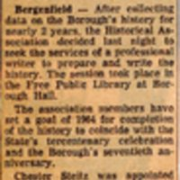 Newspaper Clipping The Record September 8 1961 Group Seeking Pro To Write Town History.jpg