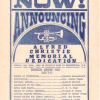 Alfred Christie Memorial Dedication flier Cooper s Park May 30 1965.jpg