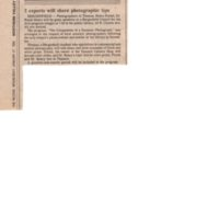 3 Experts Share Photographic Tips newspaper clipping The Record Jan 27 1982.jpg